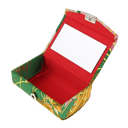 T TOOYFUL Flower Design Retro Lipstick Case Brocade Embroidered Carry Box W/Mirror - #W