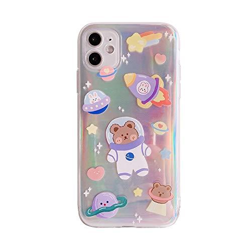 Protector de pantalla Caso del oso de dibujos animados lindo del INS Universo estrellada de Corea del teléfono for el iPhone 11 Pro Max XR X X Max 7 7 8 Puls Puls Casos suave de la cubierta TPU esquin