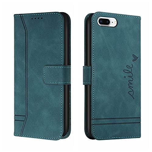 Funda tipo cartera para iPhone 6 Plus, estilo vintage, con textura mate, de piel suave, con función atril y ranuras para tarjetas compatible con iPhone 6/7/8 Plus