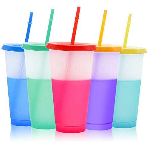 Yiifunglong 5Pcs/Set Cold Drink Colour Changing Cup, Reusable Tumblers with Lids and Straws, Reusable Mug BPA Free Colored Changeable Tumbler with Straws Cleaning Brush- 24oz 720ml