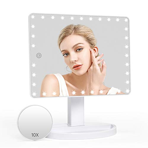 Grande Mesa Espejo de Maquillaje, 35 LED Pantalla Táctil Lámparas Cosmético con Amovible 10X Aumento Ajustable 360° de Rotación Funciona con Pilas para Cosmético