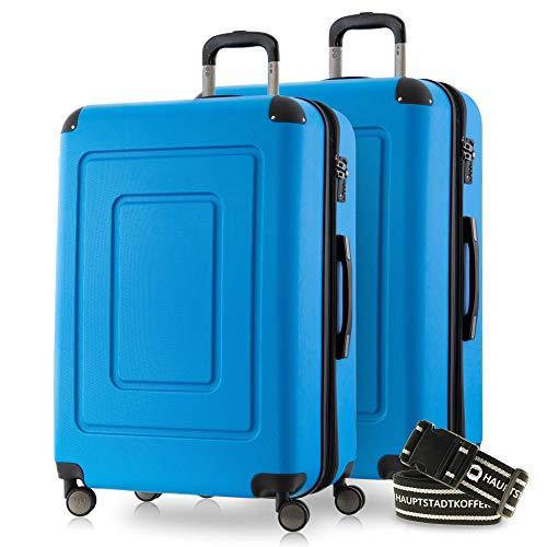 Happy Trolley - 2er Koffer-Set Trolley-Set Rollkoffer Hartschalen-Koffer Reisekoffer Lugano sehr leicht, TSA, 66 cm, 78L, (2xM), Cyan Blau +Gepäckgurt