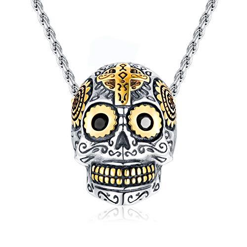 Collar de calavera, colgante de esqueleto para hombre con cadena ajustable de 55+5 cm, plata de ley 925, chapado en oro de 18 quilates, regalo gótico punk para hombres y mujeres