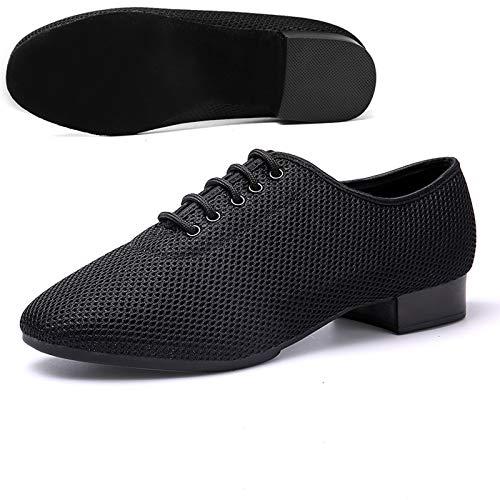 SHEHUIREN Zapatos de Baile para Hombre, Zapatos de salón de Baile Latino para Hombre, Zapatos de Jazz Modernos para Baile de Tango, Zapatos para Practicar Salsa, Color Negro,Negro,38