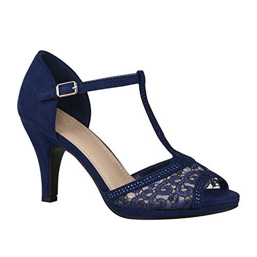 stiefelparadies Riemchensandaletten Damen Schuhe Spitze Sandaletten Strass Stilettos 150460 Dunkelblau Spitze Strass 36 Flandell