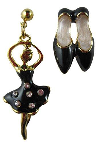 Ausgefallene Ohrringe Stecker Ohrstecker Ballerina Schuhe Tanz Straß schwarz Enamel Tänzerin *2294*