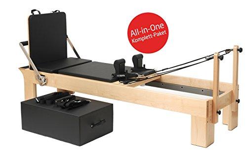Yogistar - Reforma de pilates (madera de arce, incluye caja de ajuste y tabla de saltos), color negro