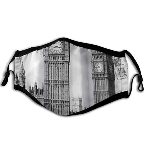 WINCAN Gesichtsbedeckung London Berühmter britischer roter Bus und große Uhr in den Londoner Straßen des Stadtlebens Foto Sturmhaube Unisex Wiederverwendbare Bandanas Halsmanschette mit 2 Filtern