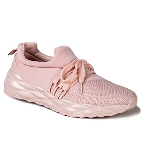 Qupid Ryder Sneakers for Women - Blush Lycra Lace-Up Casual Walking Shoes - 9