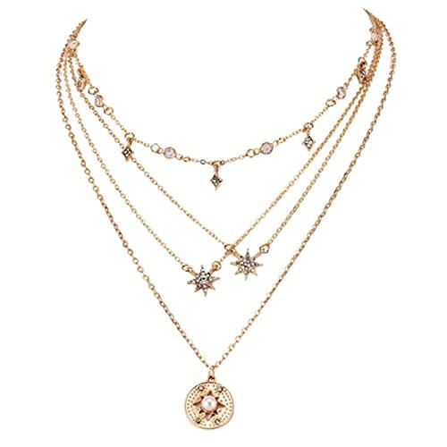 SMEJS Bohemia Collar multicapa Starlight and Sun Colgante Collares de oro Cadena de joyería para mujeres y niñas