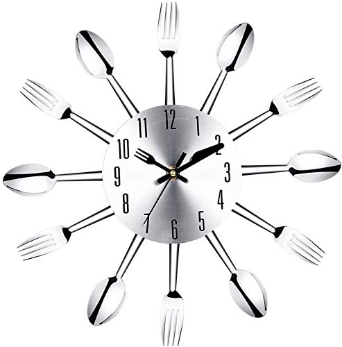 XHCP Stainless steel knife and fork spoon kitchen restaurant wall clock Home Decoration