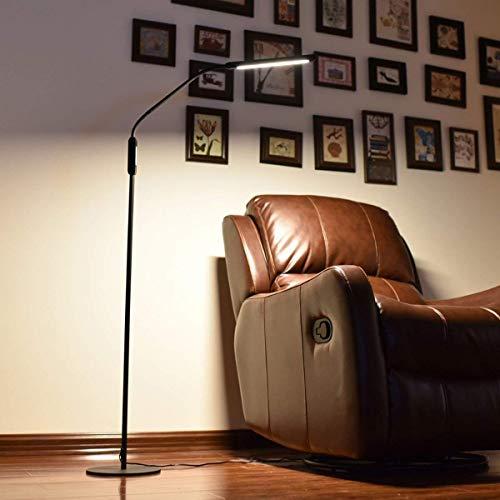 H.aetn Lámparas de pie Lámpara de pie LED nórdica con protección Ocular 8W Brillo de 5 Niveles Luz de pie Moderna para Sala de Estar Sofá Lámpara de Piano de Lectura Junto a la Cama (Color: Negro)