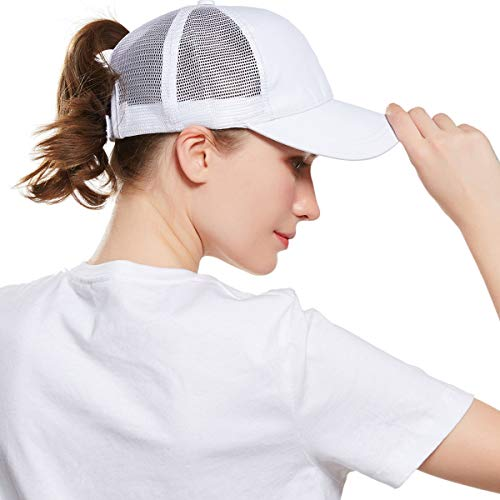 WELROG Dame Baseball Kappe Hip-Hop-Hut Verstellbar Baumwolle Pferdeschwanz Cap (Weiß #1)