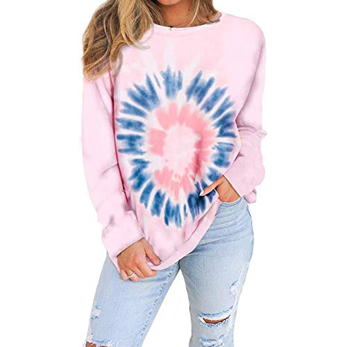 LaiYuTing Autumn and Winter New Women's Gradient Color Long-Sleeved Tie-Dye Loose Top Round Neck Sweater Pink