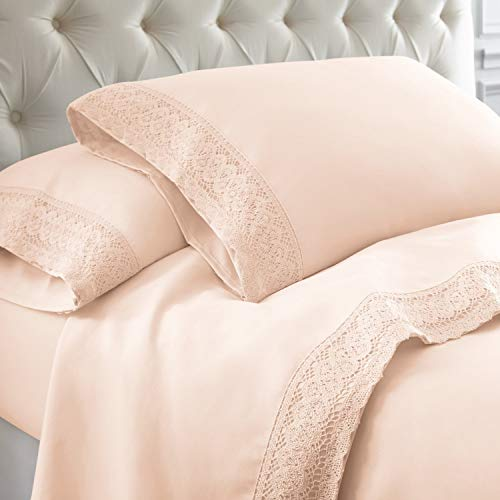 Amrapur Overseas 4-Piece Crochet Lace Bed Sheet Set, Queen, Blush