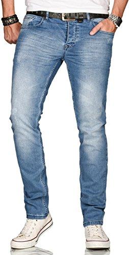 A. Salvarini Designer Herren Jeans Hose Regular Slim Fit Style Jeanshose Stretch[AS-080 - W30 L32]