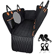 Dog Car Seat Cover 100% Waterproof, OKMEE Scratchproof Dog Seat Cover with Big Mesh Window, 2 Seat Belts and a Pocket, Durable Nonslip Seat Cover for Dogs Back Seat, SUVs and Trucks