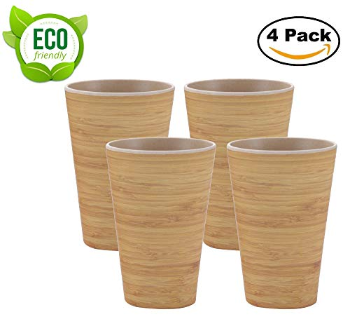 AMTNATURE Set de 4 Vasos de Bambú con capacidad de 350ml. Juego de taza biodegradable. Vajilla ecológica BPA Free.