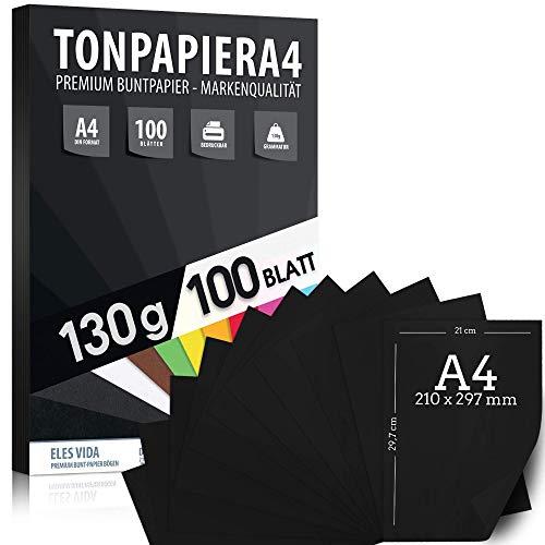 100 stuks zwart kleipapier A4-130 g dik - zwarte vellen - handwerkvellen - volledig zwart - stabiel tekenpapier, karton voor handwerk - doe-het-zelf - creatieve accessoires voor fotoalbums