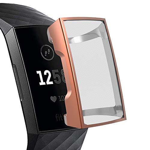 YiJYi Compatible with Fitbit Charge 4/ Charge 3 Screen Protector, Soft Slim Full-Around Protective Case Cover Shield Bumper for Fitbit Charge 4 and Charge 3 /SE(Rose Gold)