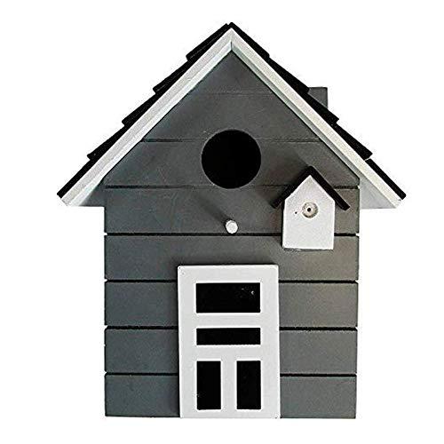 CasaJame Holz Vogelhaus für Balkon und Garten, Nistkasten, Haus für Vögel, Vogelhäuschen, Grau als Deko, 20 x 17 x 12cm