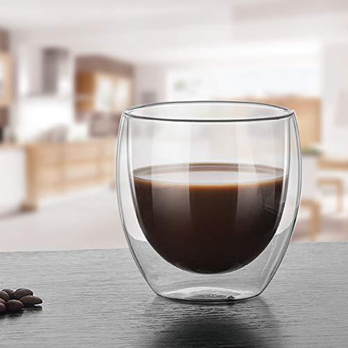 Oumefar Coupe en Verre à Double Couche Tasse à thé à Haute teneur en Borosilicate pour l'école pour Le café