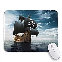 ECOMAOMI 可愛いマウスパッド ブルーヨット海賊船公海3D海軍船員ノンスリップゴムバッキングマウスパッドノートブックコンピュータマウスマット