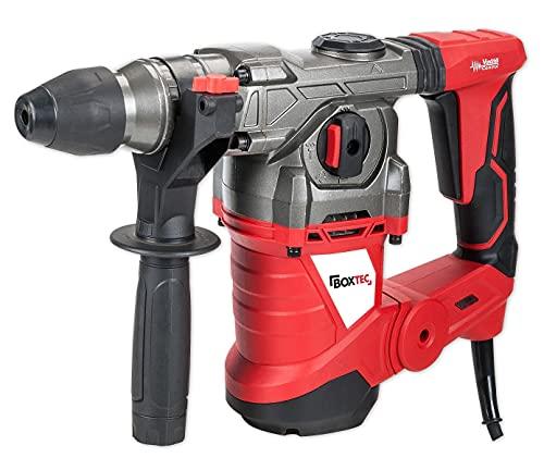 BOXTEC Bohrhammer SDS-PLUS 1500W Antivibrationsgriff und Tiefenanschlag inkl. Koffer inkl. 3 SDS-Bohrer und 2 Meißel
