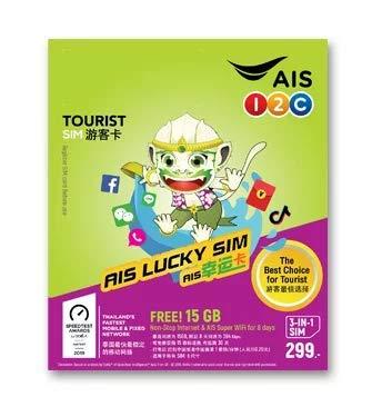AIS Thailand Traveller SIM Cards 15 GB Non-Stop Internet for 8 Days