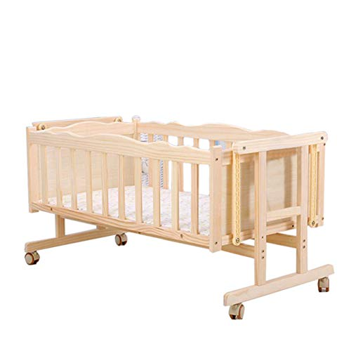 Best Price Infant products YXGH@ Electric/Manual Swinging Crib Unpainted Solid Wood Shaker Intellige...