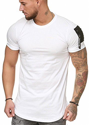 Oversize Herren Vintage T-Shirt Basic Shirt Round Neck Zipper Weiß XXL