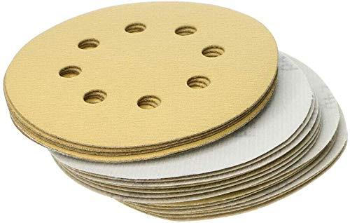 DollaTek 50PCS gelb Schleifscheiben Pads, 5-Zoll-8-Loch-Schleife Aluminiumoxid-Schleifpapier für Exzenterschleifer - 120 Körnung