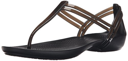 Crocs Women's Isabella T-Strap Sandal, Black, 7 M US