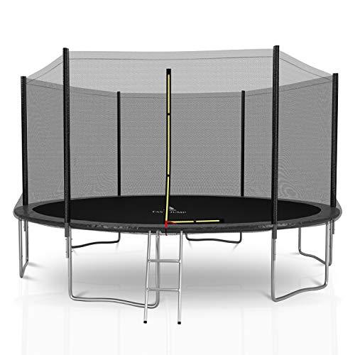 Fast-Jump Trampoline d'extérieur Deluxe avec Filet extérieur de sécurité + Echelle + Coussin...