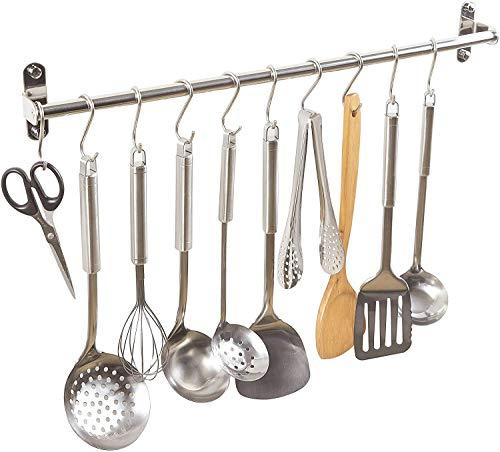ENCOFT Colgador de Pared Organizador Barra de de Acero Inoxidable para Colgar Utensilios Toallas en Cocina Baño (60cm, Plata)