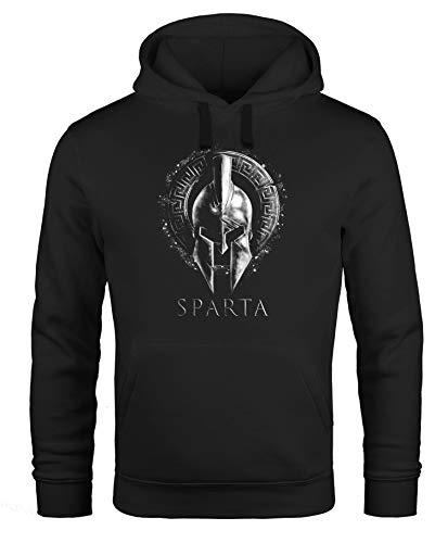 Neverless® Hoodie Herren Aufdruck Sparta Helm Krieger Warrior Printshirt T-Shirt Kapuzen-Pullover Männer Fashion Streetstyle Schwarz schwarz S