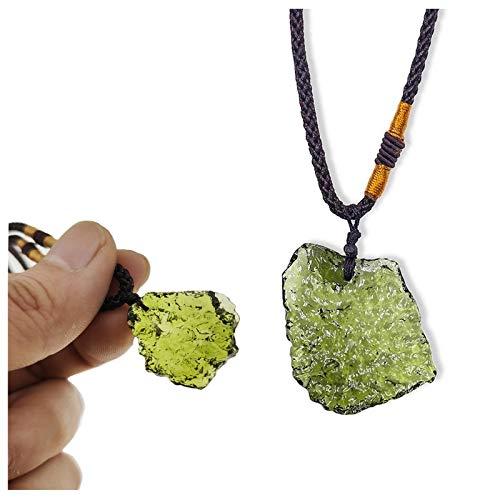 3-15g Moldavita natural Aerolitas verdes Piedra de cristal checo, Cristal irregular Piedra de energía Gema verde Meteorito Collar Colgante Joyas para hombres y mujeres (10-15g)