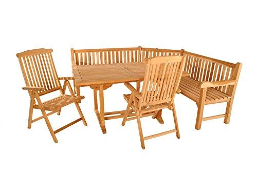 SAM 4tlg. Gartengruppe Madera, Teak-Holz Gartenmöbel, 1 x Ausziehtisch + 2 x Hochlehner Aruba + 1 x Eckbank