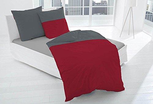 Dormisette 2 TLG. Edel Flanell Bettwäsche 135x200cm Anthrazit Rot mit Paspel