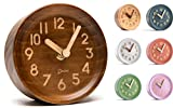 Driini Wooden Desk & Table Analog Clock Made of Genuine Pine (Dark) - Battery Operated wit...