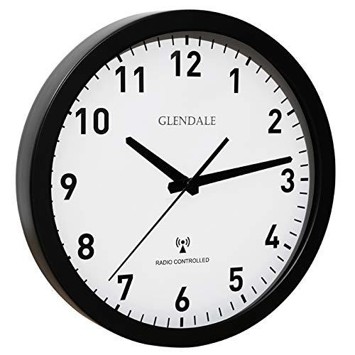 GLENDALE Wanduhr funkgesteuert (Schwarz Metall) 30cm-Funkuhr-lautlos-ohne Ticken-schleichende Sekunde-Silent Sweep Uhrwerk