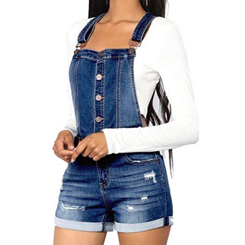 STRIR Mono Mujer Peto Vaqueros Overalls Denim Jeans Elásticos Mamelucos Vaqueros Pantalones Corta Casual Elegante Petos Tirantes Sin Espalda con Bolsillos (M, Azul)