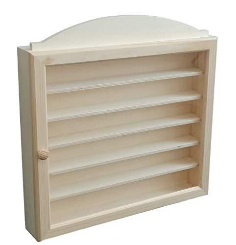Vitrina colecciones madera. Con 6 baldas. Medidas exteriores (ancho/fondo/alto): 40 * 6,5 * 40 cm. Distancia entre baldas: 4.5 cm útil de fondo y altura. En madera de pino y chopo en crudo.