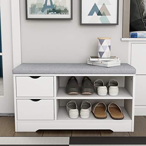 KEEPREAPER Schuhbank mit 2 Sitzfläche Weiß Holz Schuhschrank Schuhregal 80 * 30 * 44cm (2 Schublade)