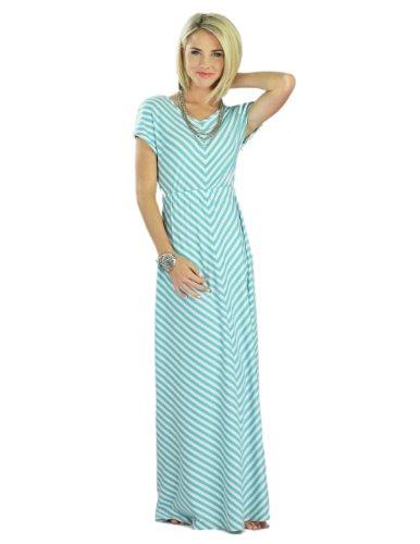 Mikarose Floor-Length Short Sleeve Maxi Dress- Makenna Teal