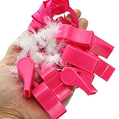 KIRALOVE Gadget Matrimonio Fischietto - Addio al Nubilato - Divertente - Rosa - Laccio - Sposa - Amiche - Colore Rosa - Confezione 10 Pezzi - Festa