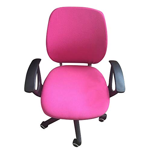 G&X - Funda para silla de oficina, color sólido, funda para asiento de silla giratoria, funda extraíble y elástica, para sillas de escritorio, protectores para silla de tareas, color rosa
