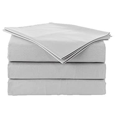 4 pcs sheet set Ultra Soft- Brushed Microfiber With Top Header - Wrinkle & Fade Resistant, Hypoallergenic Sheet & Pillow Case Set Queen Size Light Grey solid