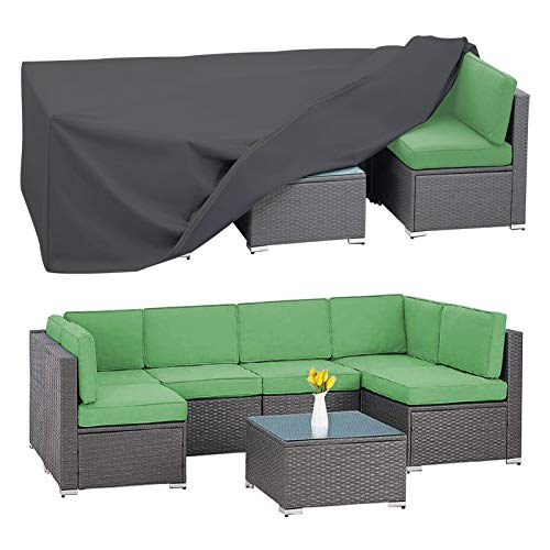 AKEfit Patio Furniture Set Cover,Heavy Duty Waterproof Outdoor Sectional Sofa Covers,Outdoor Table Chair Set Covers,Fits for 6-8 Seater Garden Couch Furniture Protector 126