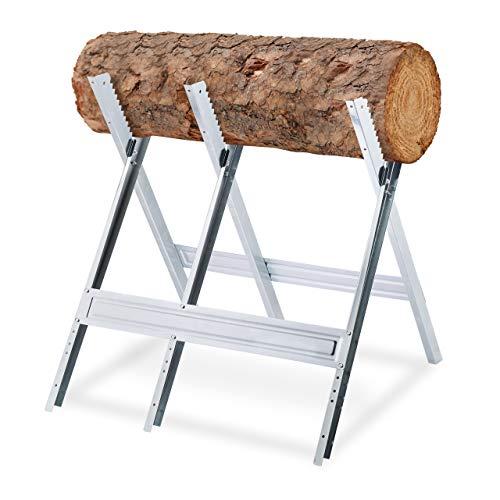 Relaxdays 10029462 Chevalet de sciage, couper le bois, pliable, support tronçonneuse, acier, HxLxP: 81 x 75,5 x 81 cm, argenté, 1 unité